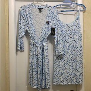 2 PC Soft Hacci Night gown & Robe Blue Pajama Set